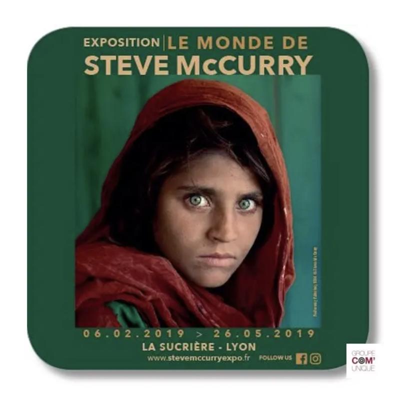 Sous-bock publicitaire pour une exposition de Stage Mccurry à la Sucrière de Lyon - Groupe Com'Unique