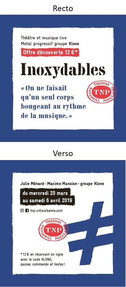 Visuel du sous-bock publicitaire du Théâtre national populaire - Groupe Com'Unique