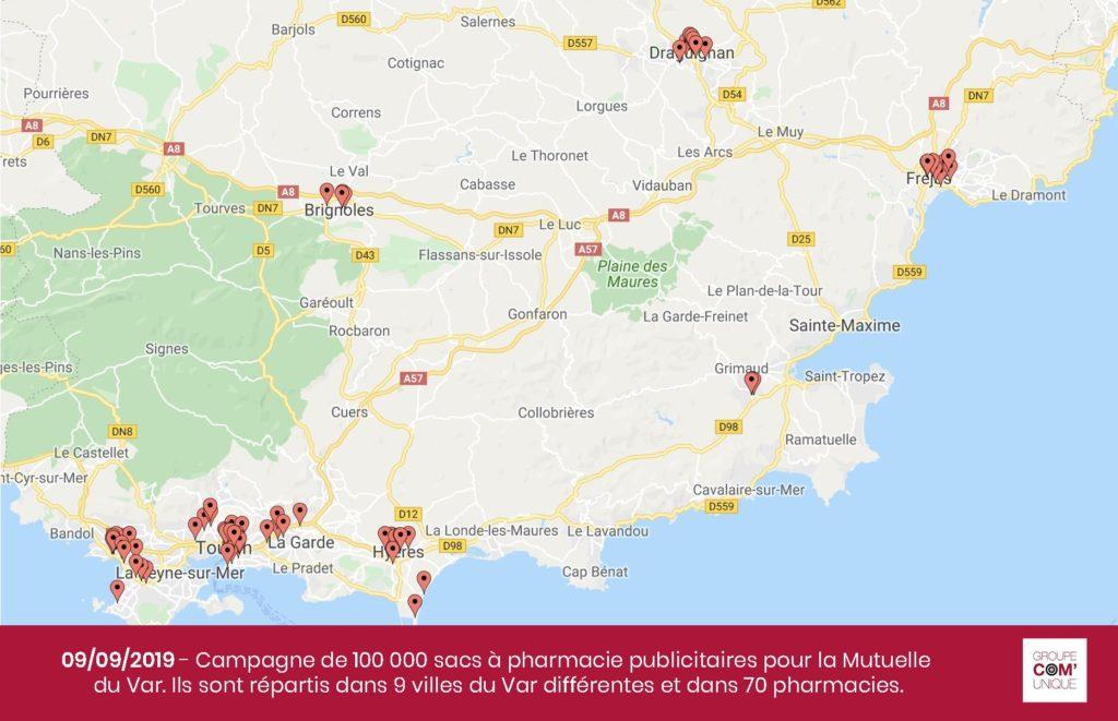 Carte des pharmacies où ont été livrées les sacs à pharmacie publicitaires