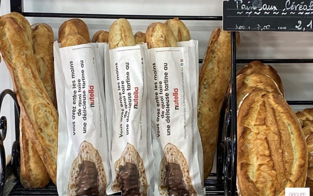 Le groupe Ferrero utilise les sacs à pain publicitaires  pour promouvoir son concours #meilleuretartineNutella